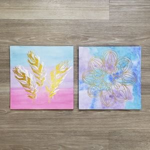 5/$25 Watercolor Metallic Painting Feathers